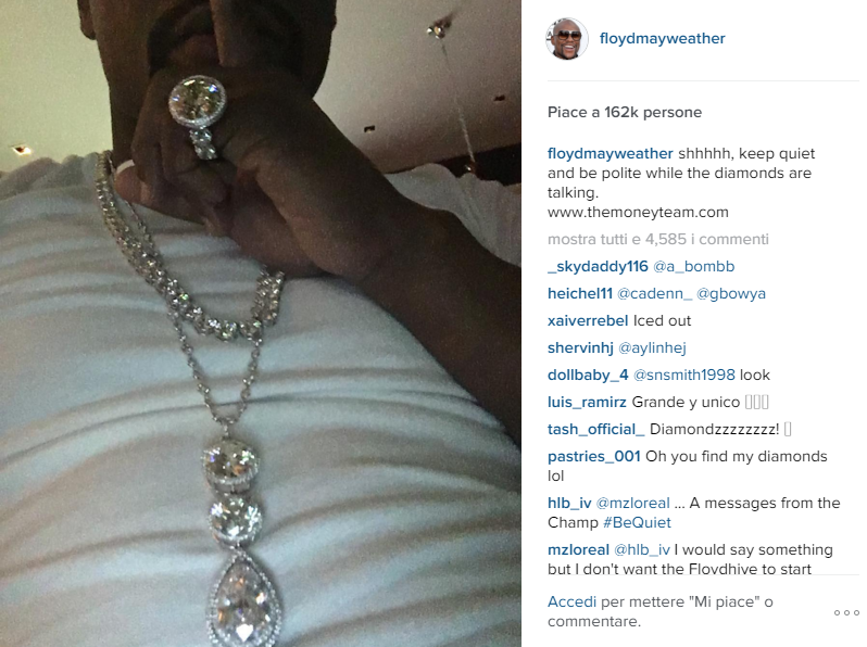 Floyd Mayweather, 15 milioni in diamanti