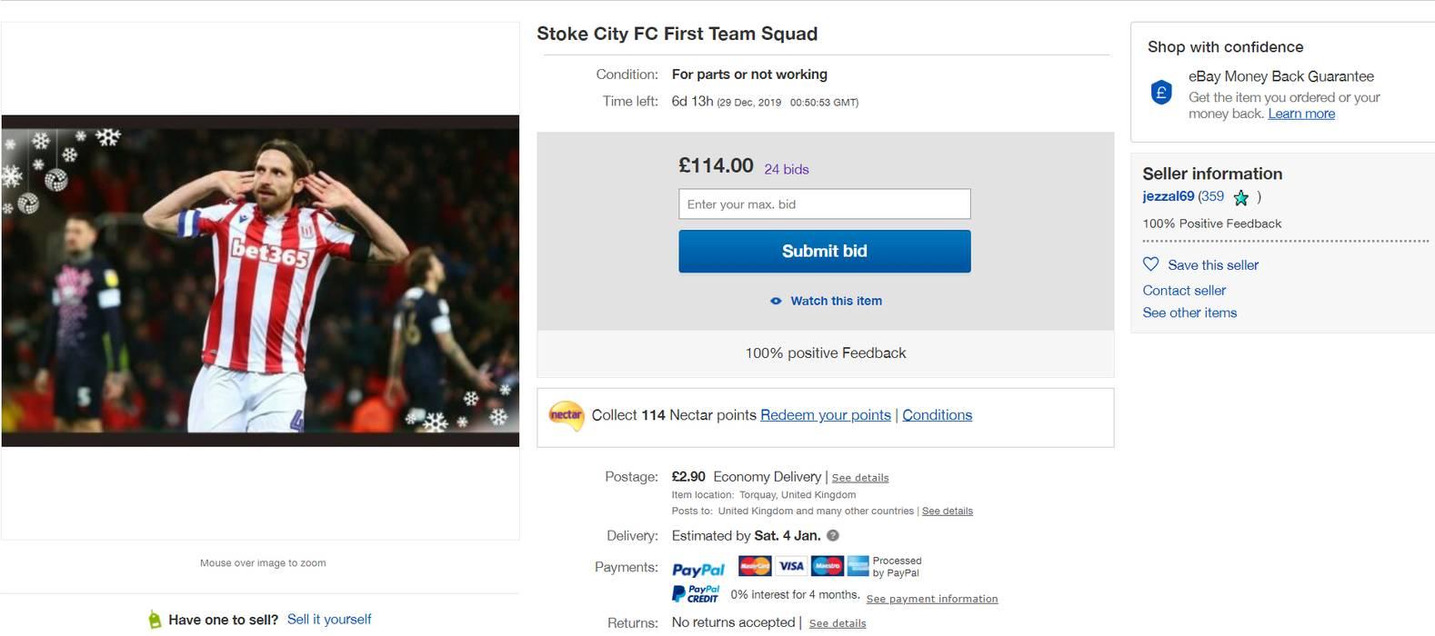 Stoke City vendita su eBay