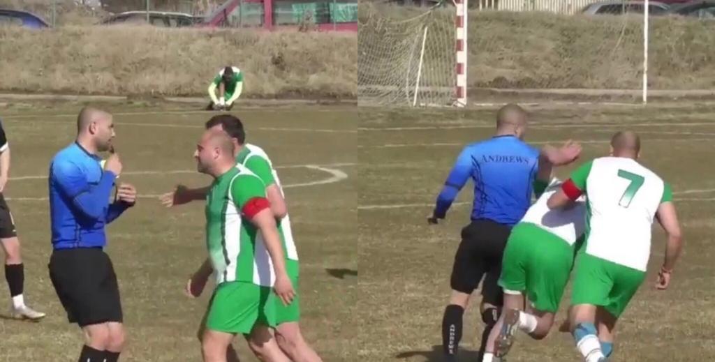 Bulgaria giocatori attaccano arbitro