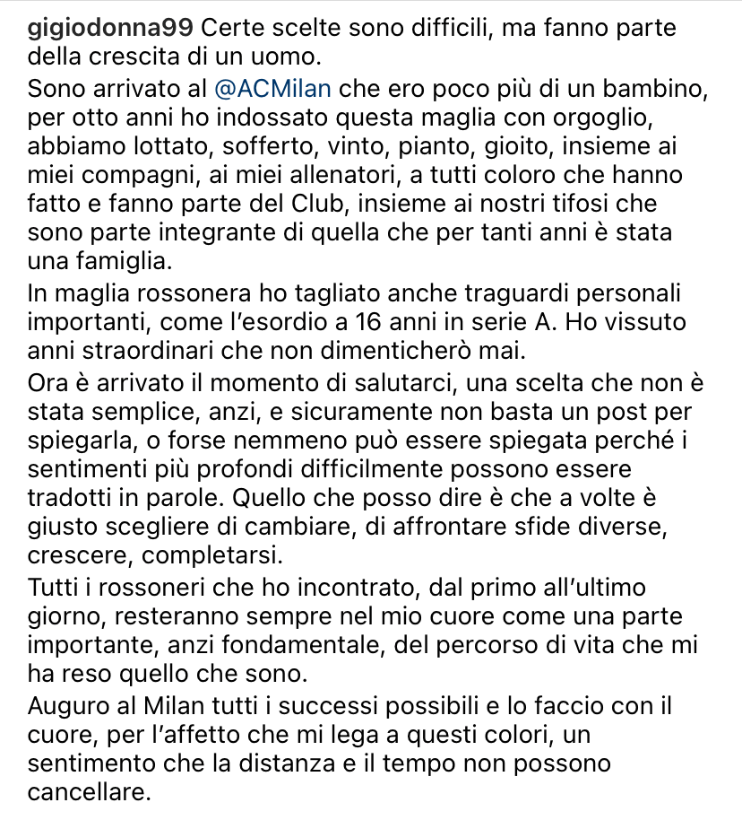 Donnarumma saluta il Milan