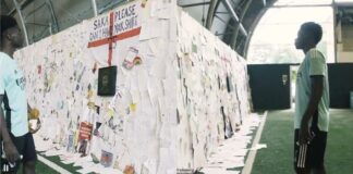 Un muro di messaggi per Saka