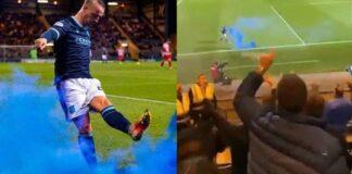 Scozia, attaccante calcia fumogeno contro tifosi avversari